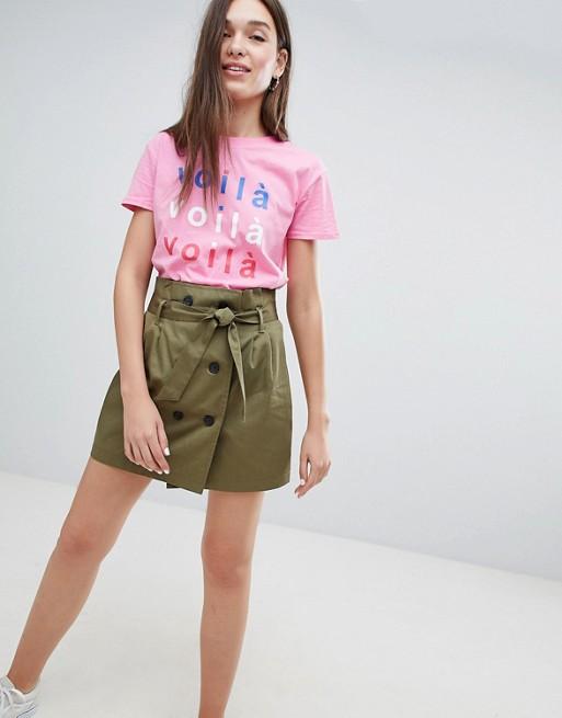 Image 1 of Bershka double breasted tie waist mini skirt in green