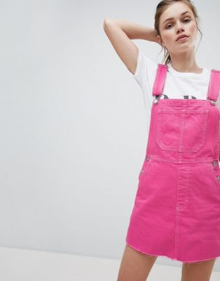 Bershka dungaree dress in pink