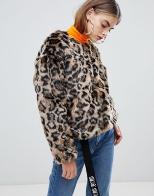 Image 1 of Bershka faux fur leopard jacket in multi