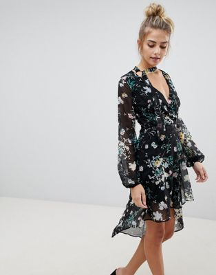 Bershka Floral Asymmetric Floaty Dress