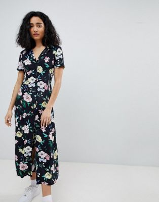 Bershka floral midi shirt dress in black