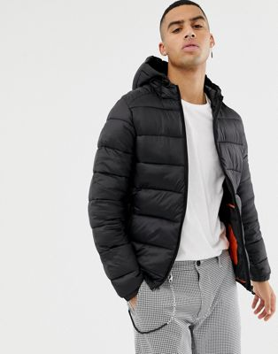 Bershka Hooded Puffer Jacket In Black