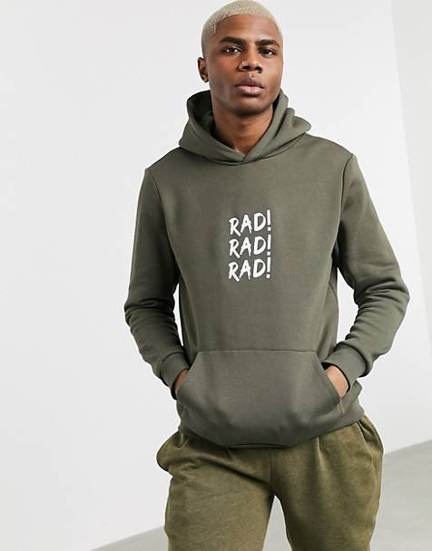 Bershka hoodie with back print and chest slogan in khaki