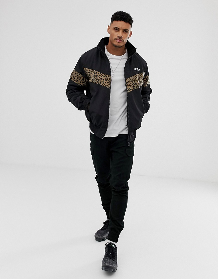 Bershka Jacket With Leopard Print Fleece Panels In Black by Bershka