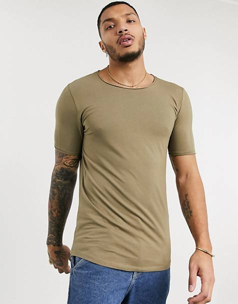 Bershka Join Life Organic Cotton slim fit t-shirt in khaki