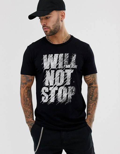 Bershka Join Life t-shirt with slogan print in black