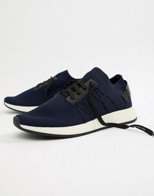 Bershka knitted trainer in navy with slogan laces