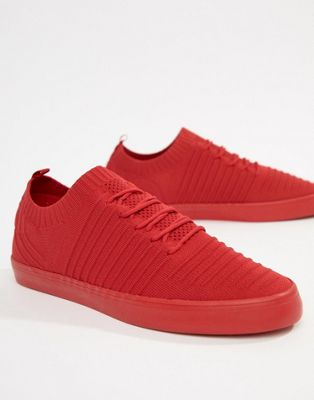 Bershka Knitted Trainer In Red