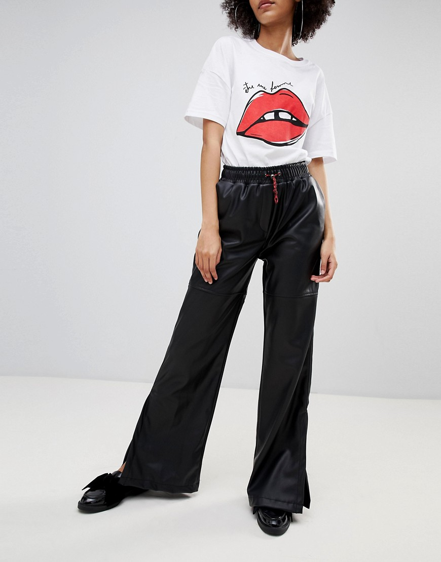 Bershka Leather Look Wide Leg Pants by Bershka
