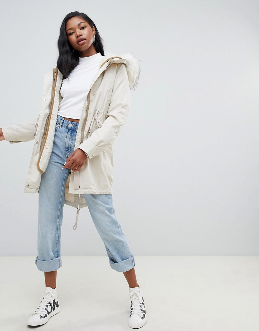 Bershka Long Line Parka With Faux Fur Hood by Bershka