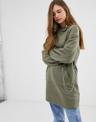 Image 1 of Bershka longline hoodie with chain detail in green