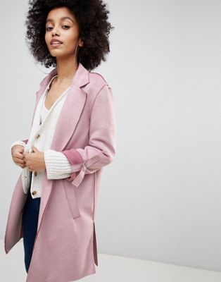 Bershka - Morbido cappotto sartoriale in camoscio sintetico rosa