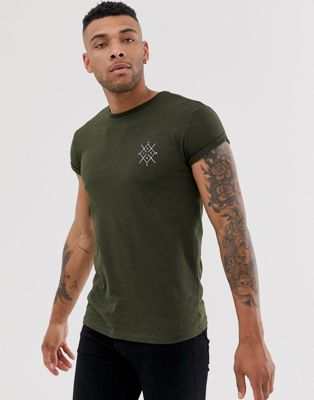Bershka muscle fit t-shirt in khaki with chest print