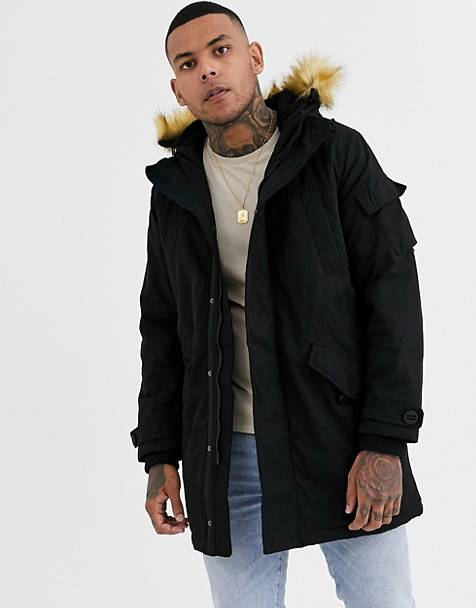 Bershka parka in black with detachable hood