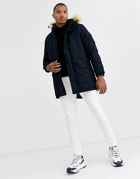 Bershka parka in navy with detachable hood