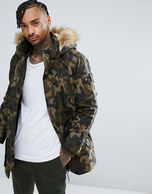 Bershka Parka With Detachable Hood In Khaki Camo