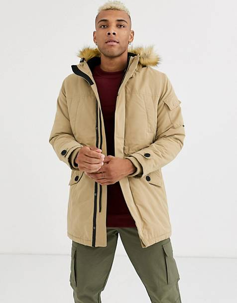 Bershka parka with fleece lined hood and detachable fur in beige