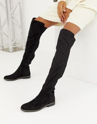 Image 1 of Bershka ribbed Over The Knee boot