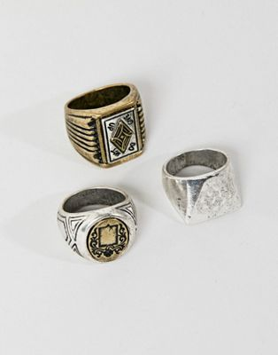 Image 1 of Bershka Ring 3 Pack In Silver