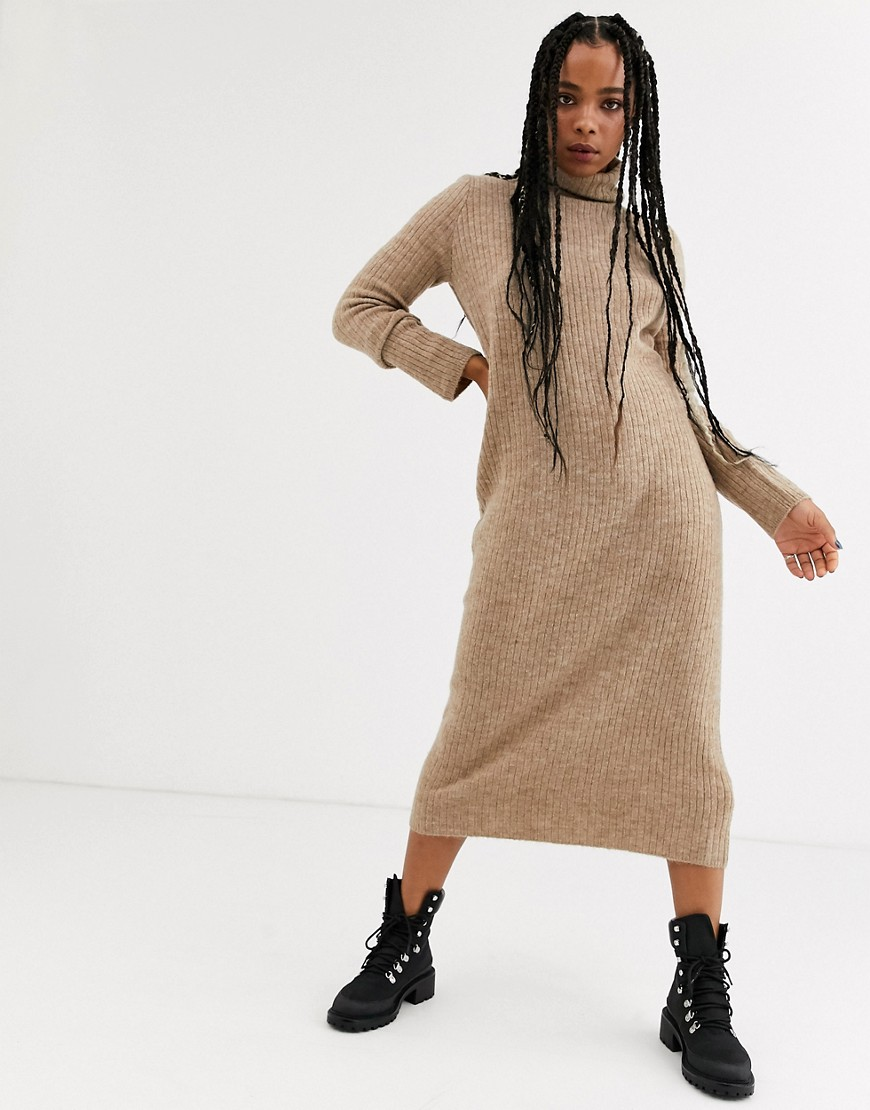 Bershka roll neck sweater dress in camel-Beige - Bershka online sale