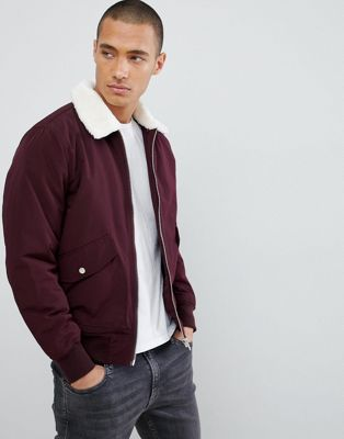 Bershka Shearling Aviator In Burgundy