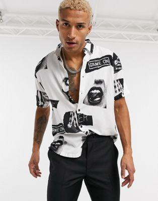 Bershka short sleeve grandad collar shirt with stripe detail - ASOS Price Checker