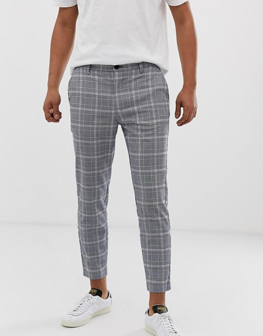 Bershka skinny check pants in blue