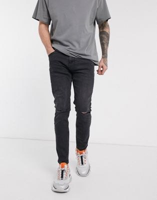 Bershka skinny jean in light blue - ASOS Price Checker