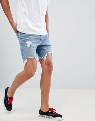 Bershka Slim Fit Denim Shorts In Mid Blue With Rips