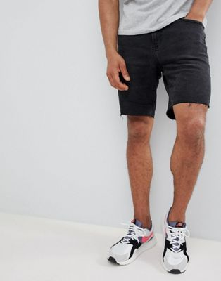 Bershka Slim Fit Denim Shorts In Washed Black
