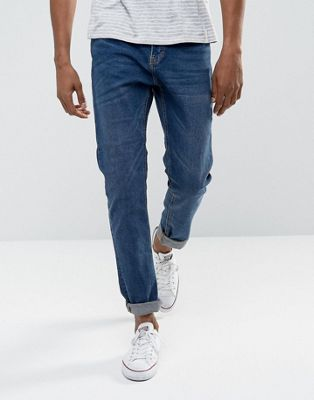 Bershka Slim Fit Jeans In Mid Wash