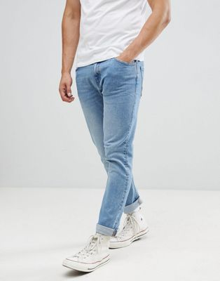 Bershka Slim Jeans In Light Wash