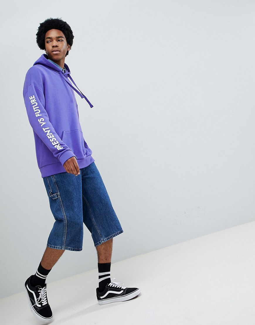 Bershka Slogan Hoodie In Purple by Bershka