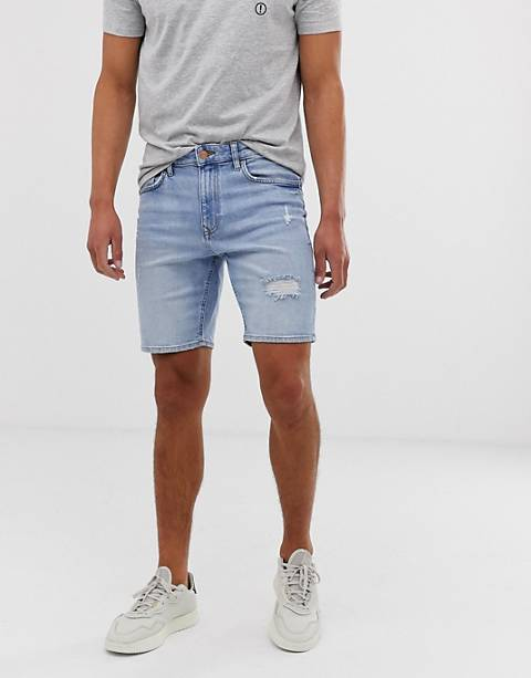Bershka super skinny fit denim shorts with rips in light blue