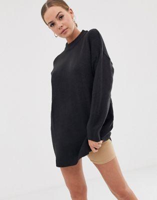 Bild 1 av Bershka – Svart lång tröja med rund halsringning