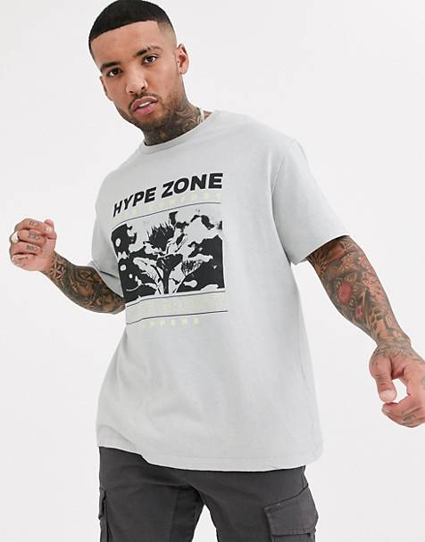 Bershka t-shirt with chest and back print in gray