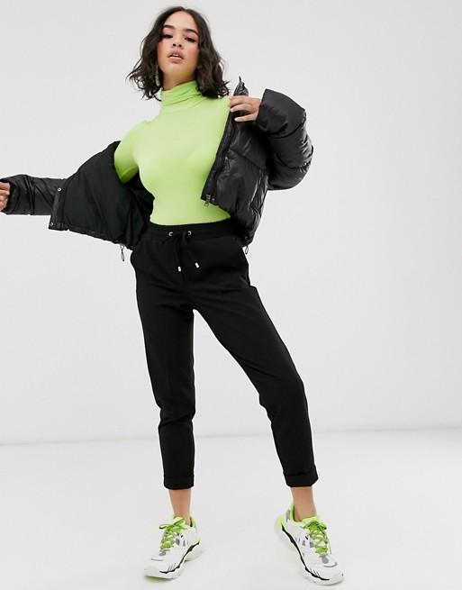 Bershka tie waist jogger in black