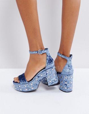 Bershka Velvet Studded Platform Sandals