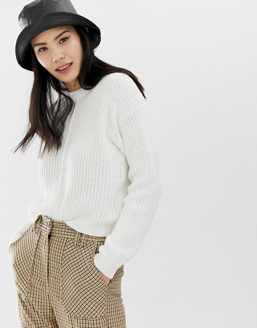 Bershka – Weißer Pullover mit Ziernaht auf der Vorderseite