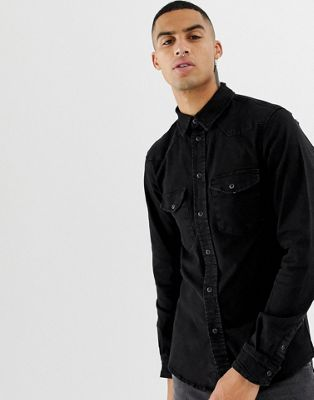 Image 1 of Bershka western shirt in black with popper buttons