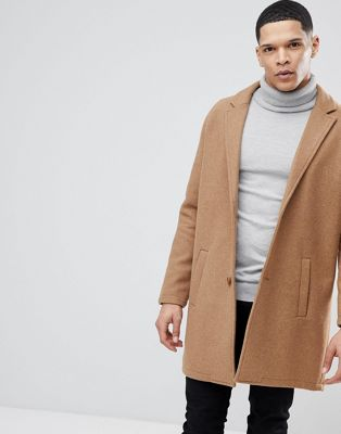 Bershka Wool Overcoat In Camel