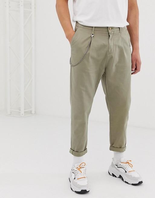 Image 1 of Bershka worker pants with chain in light khaki