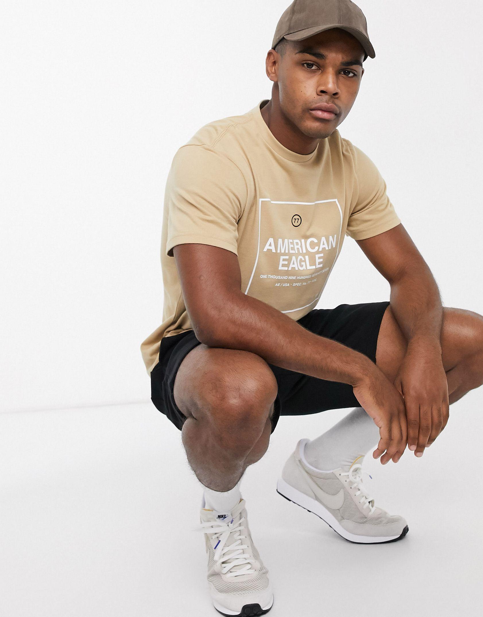 American Eagle box logo t-shirt in beige - ASOS Price Checker