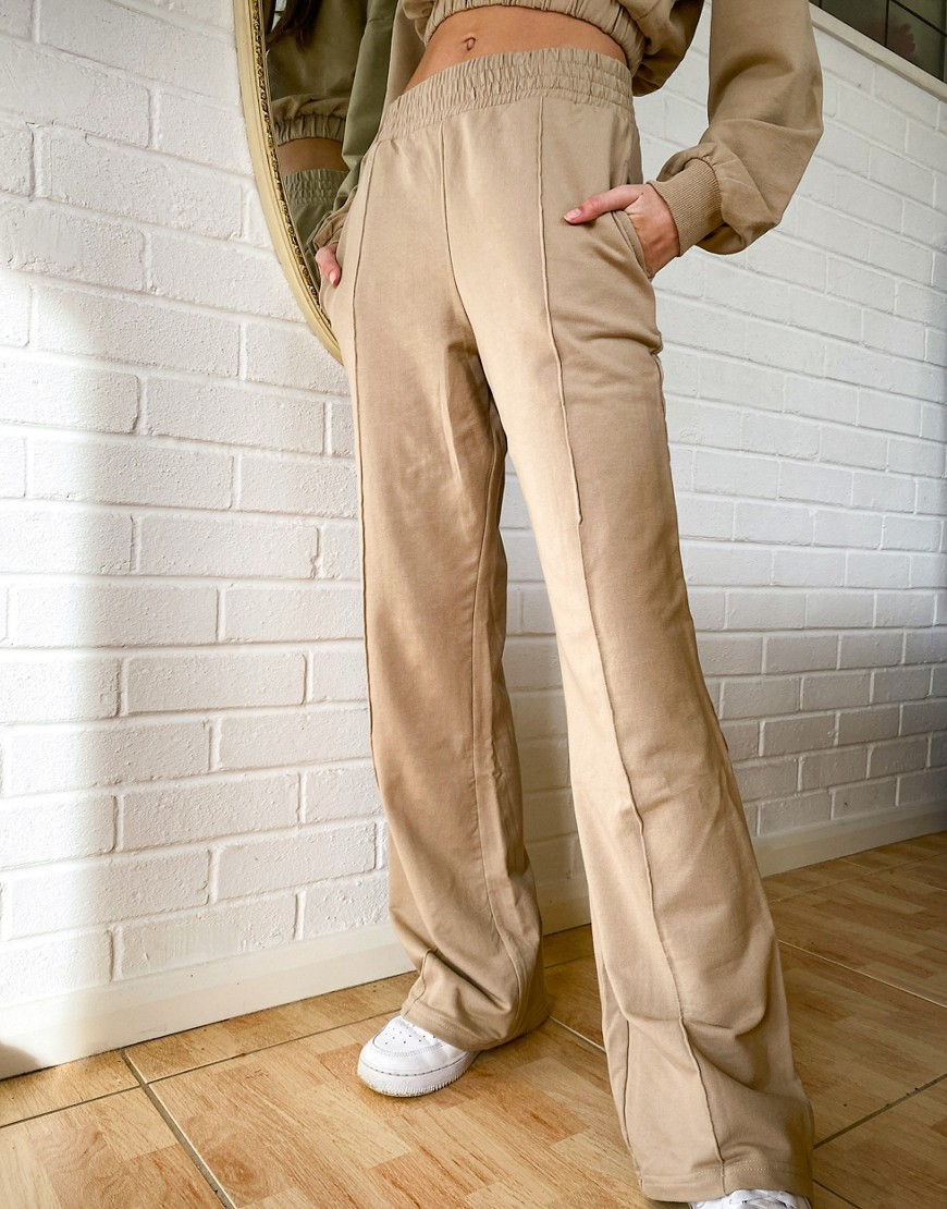 Бежевые широкие брюки от комплекта Bershka-Бежевый