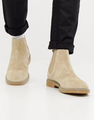 Бежевые замшевые ботинки челси Pull&Bear