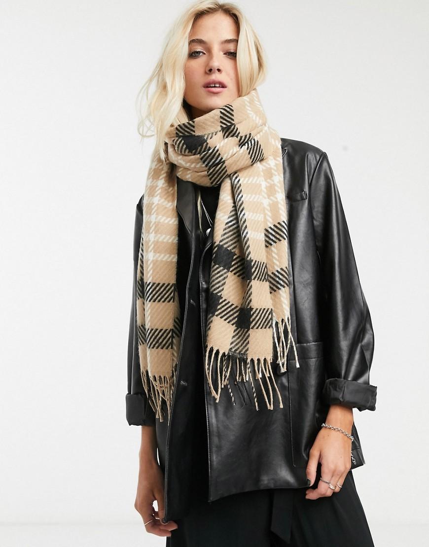 Бежевый шарф в клетку Topshop-Светло-коричневый