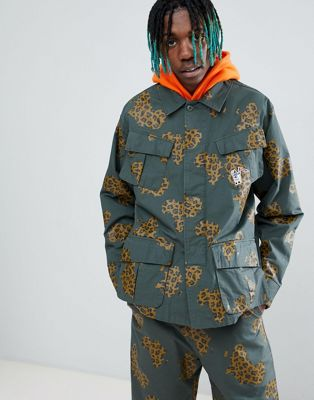 Billionaire Boys Club Camo Patch Print Jacket In Green