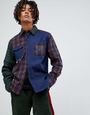 Billionaire Boys Club contrast check shirt in navy