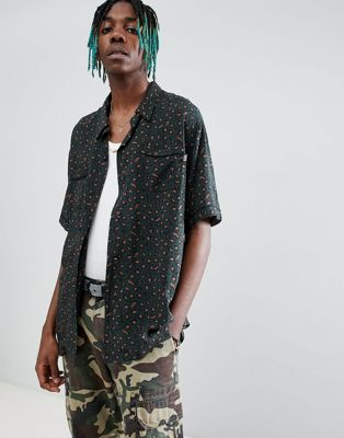 Billionaire Boys Club – Grön, leopardmönstrad skjorta