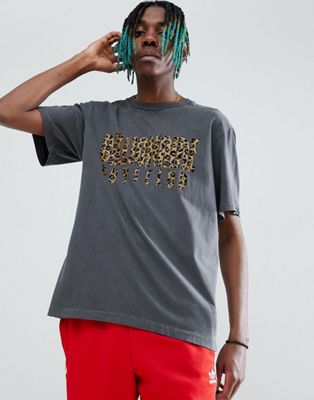 Billionaire Boys Club Leopard Print Arch Logo T-Shirt In Black